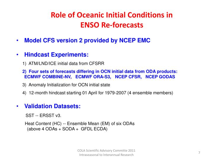 Role of Oceanic Initial Conditions in