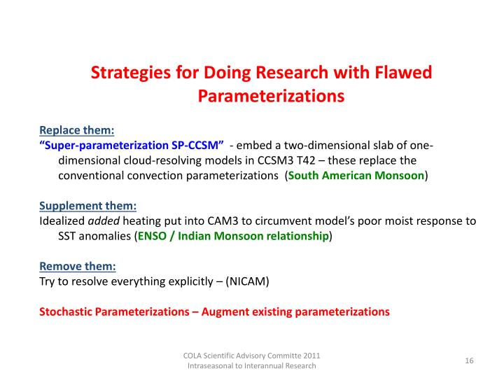Strategies for Doing Research with Flawed Parameterizations