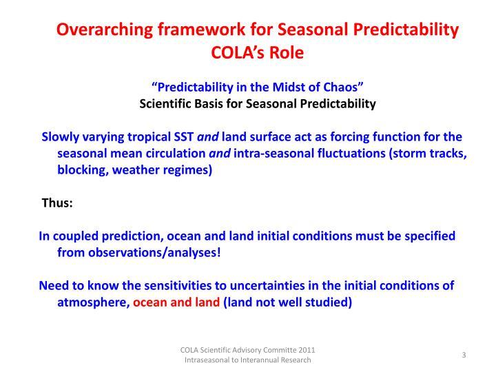 Overarching framework for Seasonal Predictability
