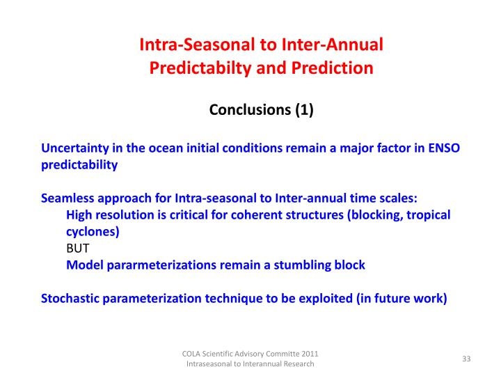 Intra-Seasonal to Inter-Annual