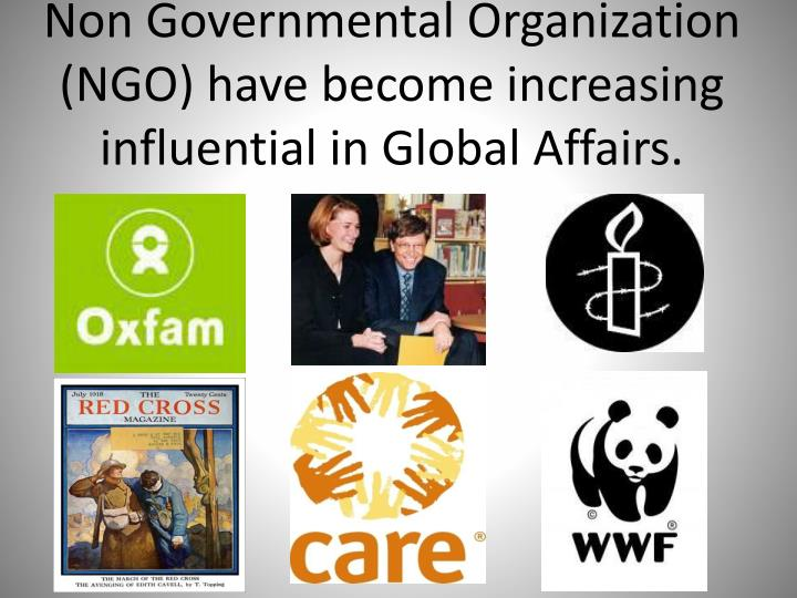 Non Governmental Organization (NGO) have become increasing influential in Global Affairs.