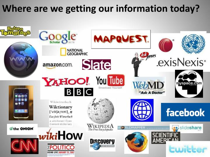 Where are we getting our information today?