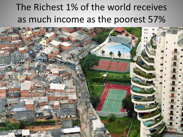 The Richest 1% of the world receives as much income as the poorest 57%