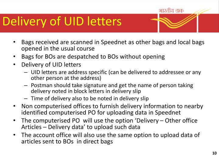 Delivery of UID letters
