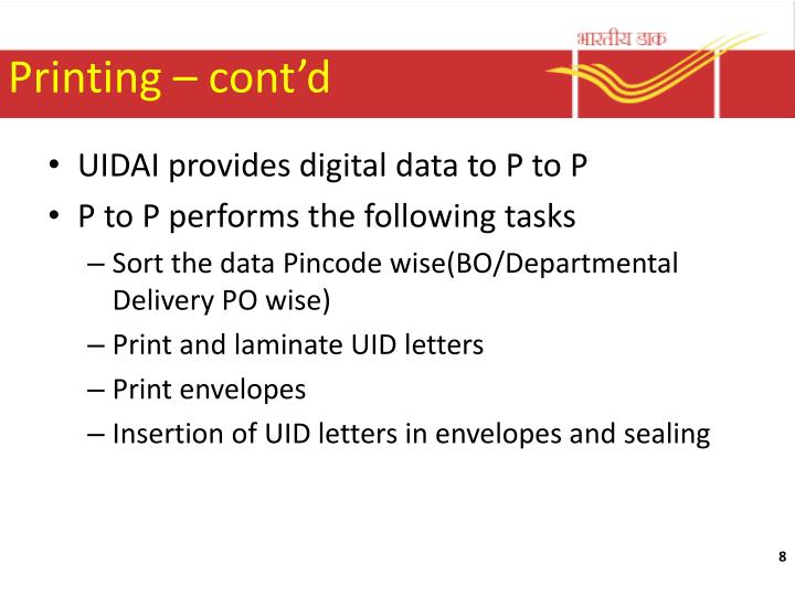 Printing – cont'd