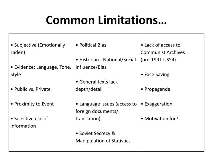 Common Limitations…