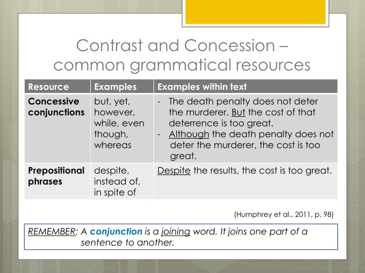 Contrast and Concession – common grammatical resources