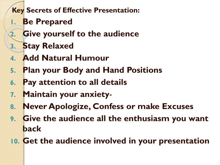 Key Secrets of Effective Presentation: