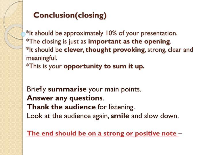 Conclusion(closing)