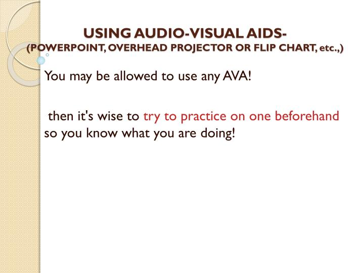 USING AUDIO-VISUAL AIDS-