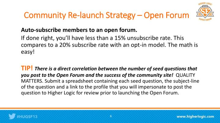Community Re-launch Strategy – Open Forum