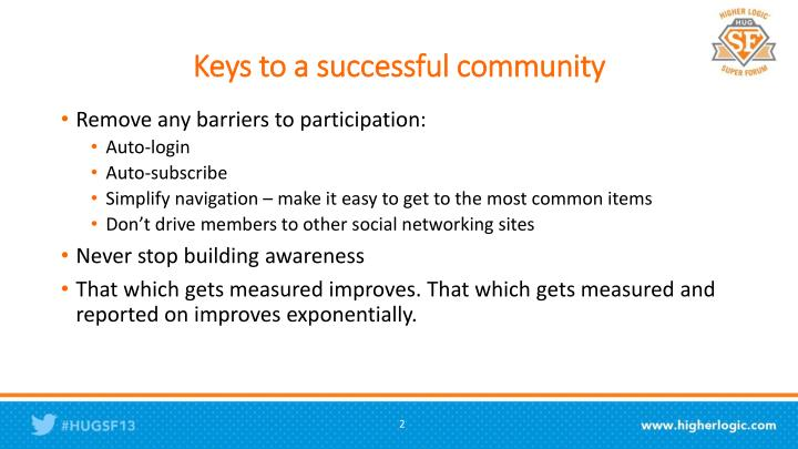 Keys to a successful community