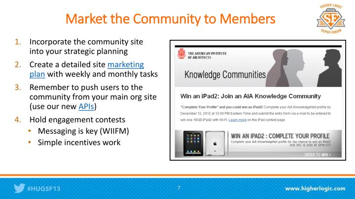 Market the Community to Members