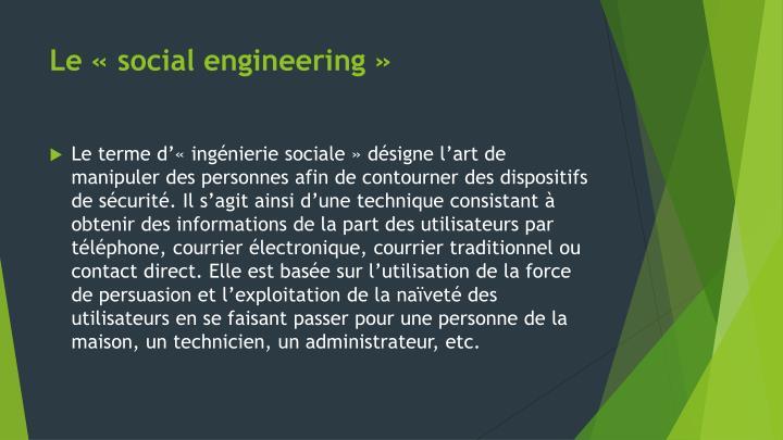 Le «social engineering»