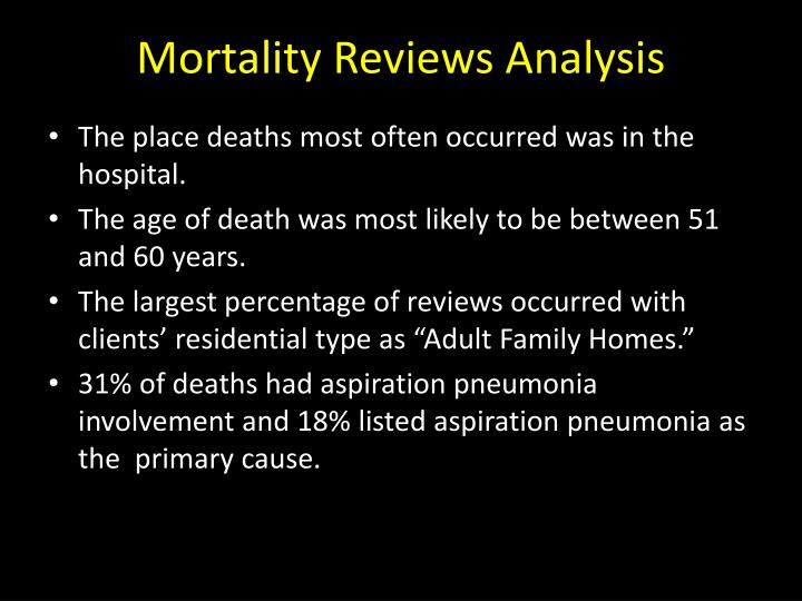 Mortality Reviews Analysis