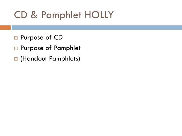 CD & Pamphlet HOLLY