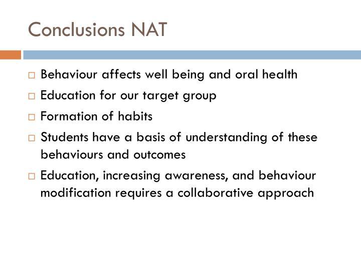 Conclusions NAT