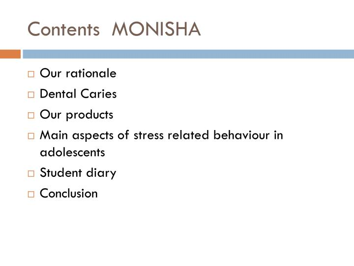 Contents monisha