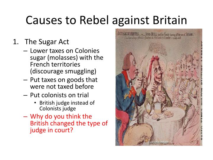 Causes to rebel against britain