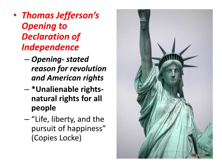 Thomas Jefferson's Opening to Declaration of Independence