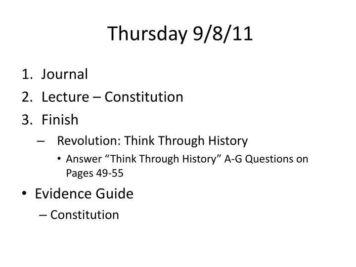 Thursday 9/8/11