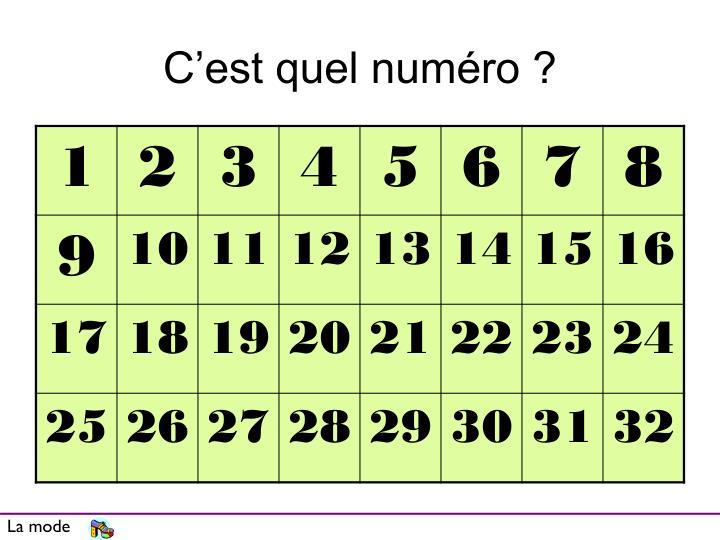 C'est quel numéro ?