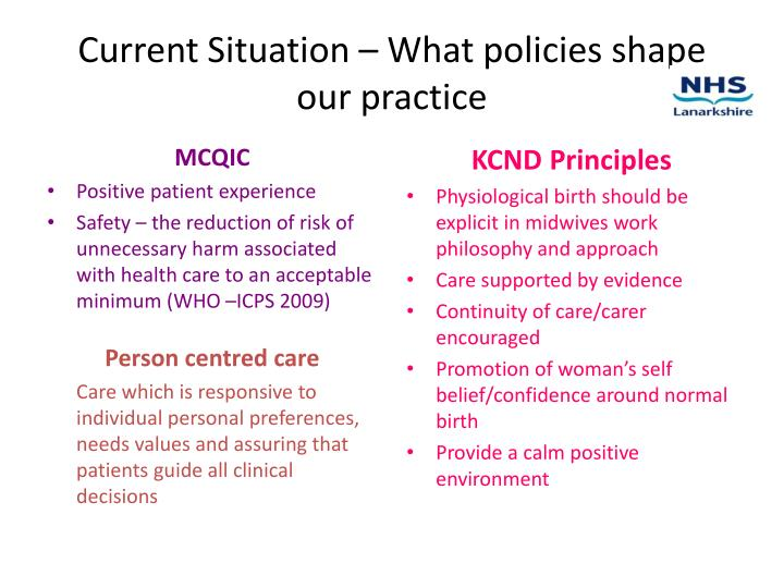 Current Situation – What policies shape our practice