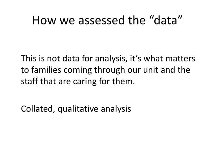 "How we assessed the ""data"""