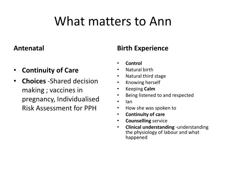 What matters to Ann
