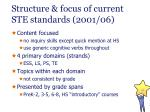 structure focus of current ste standards 2001 06