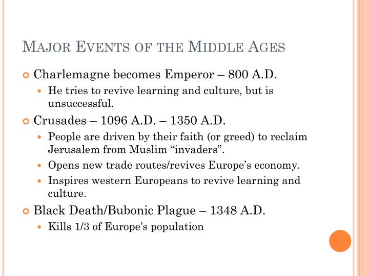 Major Events of the Middle Ages