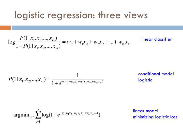logistic regression: three views