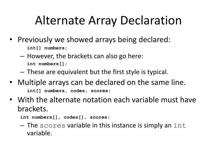 Alternate Array Declaration