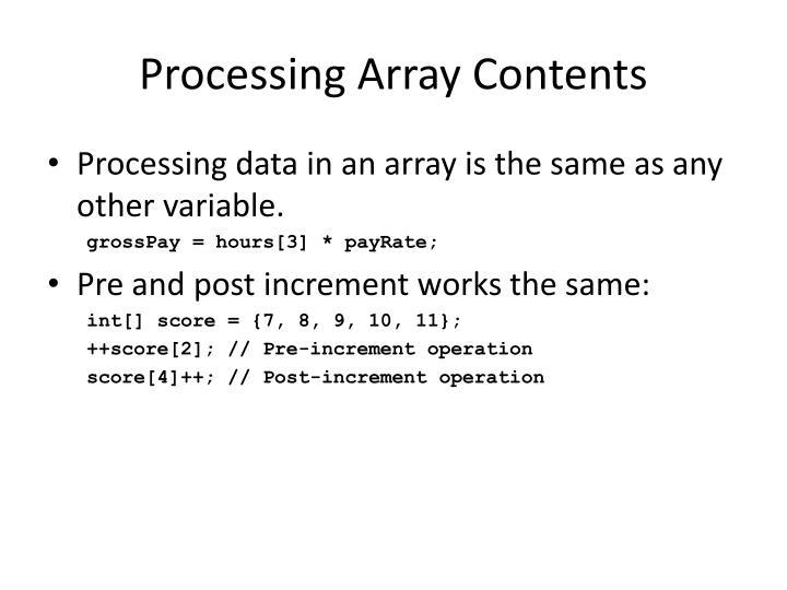Processing Array Contents