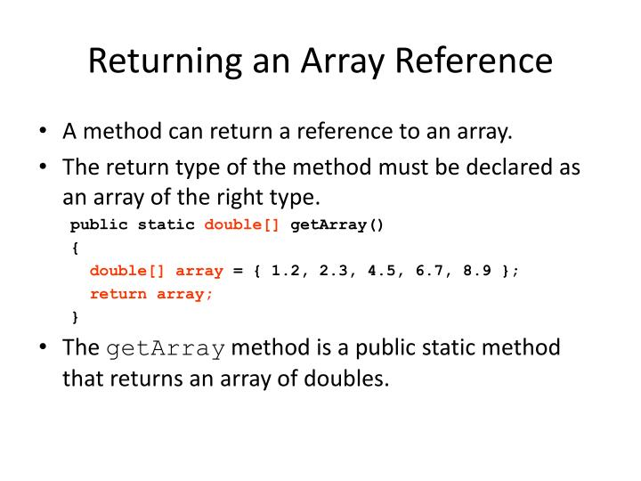 Returning an Array Reference