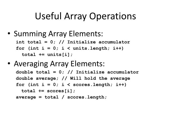 Useful Array Operations