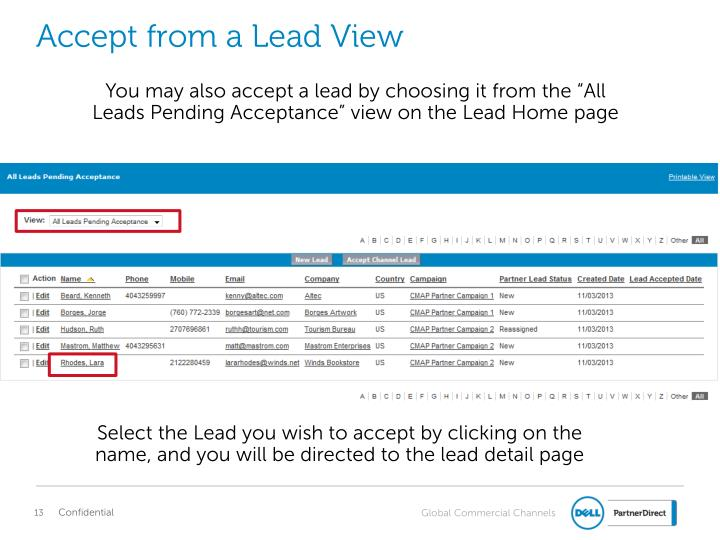 Accept from a Lead View