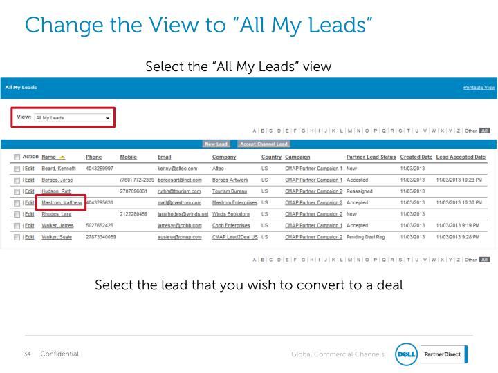 "Change the View to ""All My Leads"""