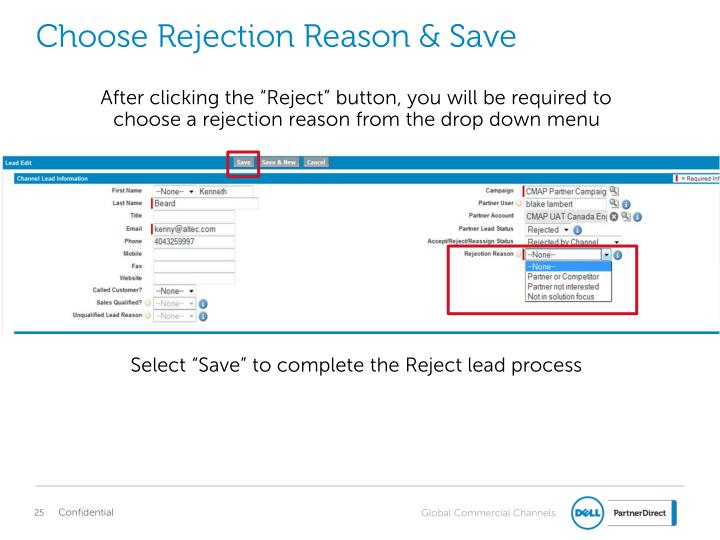 Choose Rejection Reason & Save
