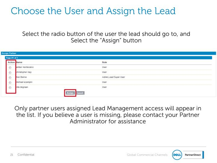 Choose the User and Assign the Lead