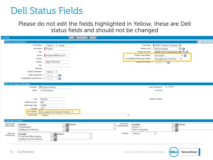 Dell Status Fields
