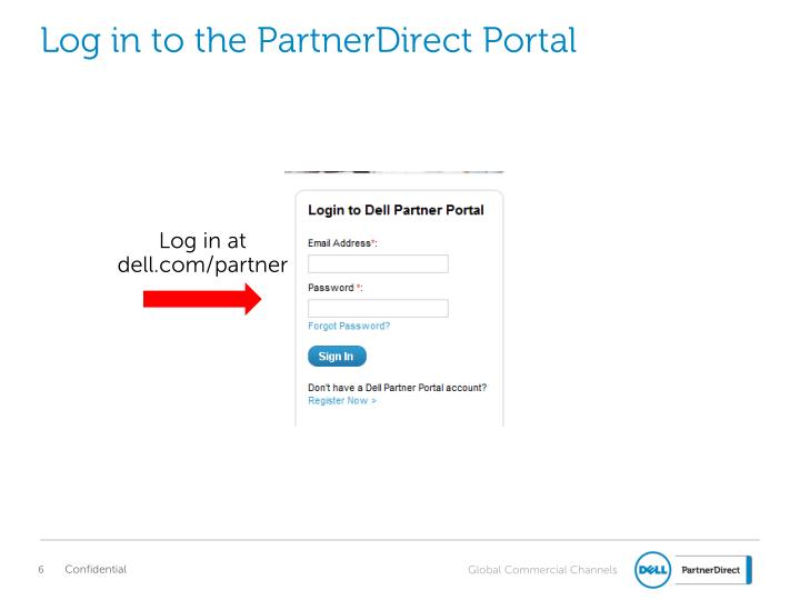 Log in to the PartnerDirect Portal
