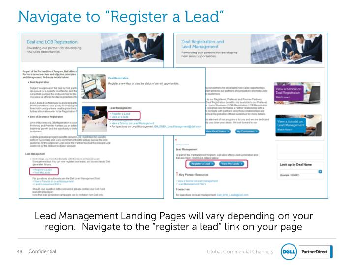 "Navigate to ""Register a Lead"""