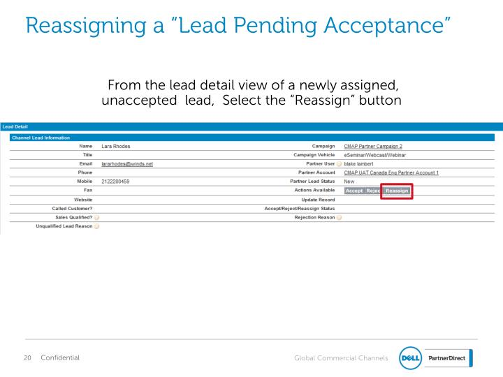 "Reassigning a ""Lead Pending Acceptance"""