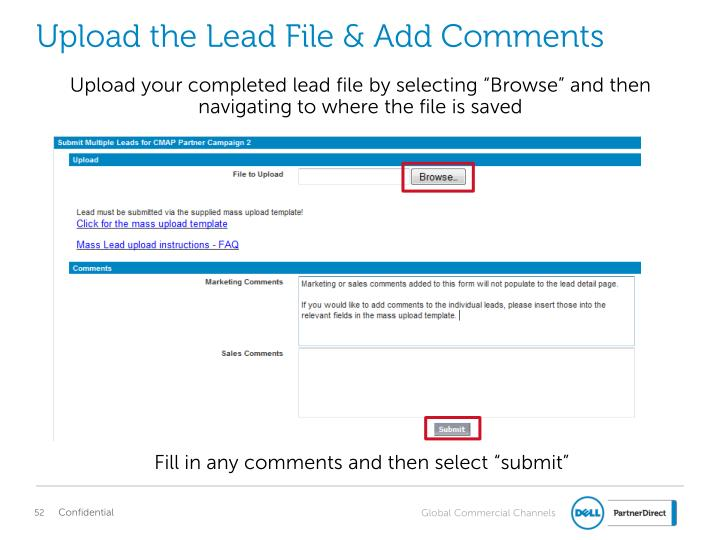 Upload the Lead File & Add Comments