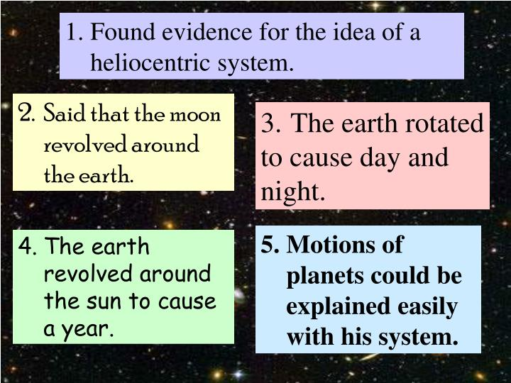 Found evidence for the idea of a heliocentric system.