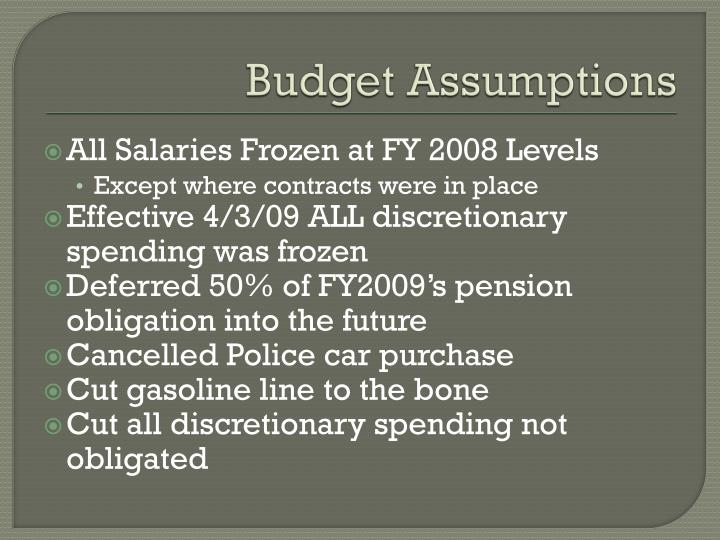 Budget Assumptions