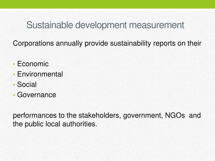 Sustainable development measurement