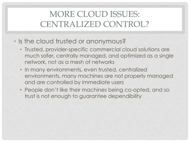 More cloud issues: