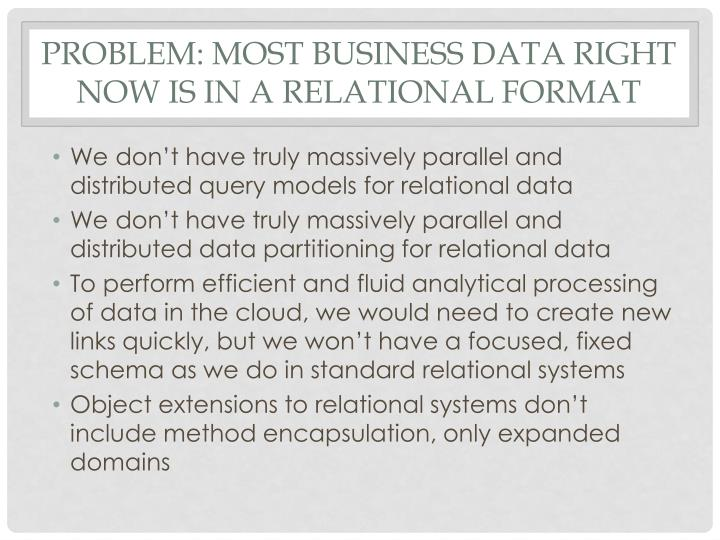 Problem: most business data right now is in a relational